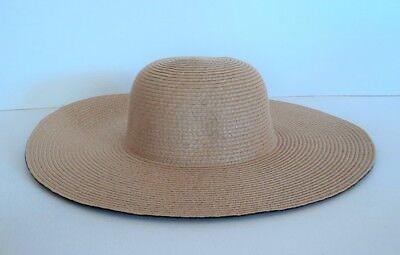 Straw Hats Cheap (David & Young Tan Large Brim Summer BEACH Sun Hat Straw Weave - FLASH)