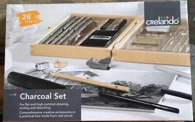 Crelando Charcoal  Art Set drawing sketching wooden box new + unused. 26 pieces