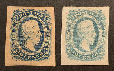 TDStamps: US Confederate States CSA Scott#11 (2) Used 1 L. Cr.1 Thin 2 Shades