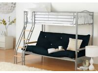 Alaska Futon Bunk Bed, Silver and Black