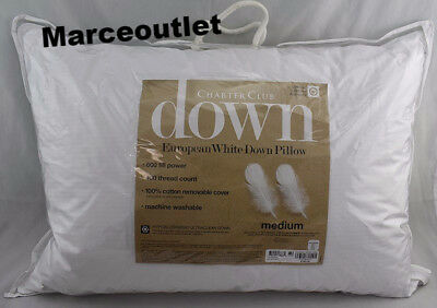 Charter Club European White Down Medium Density KING Pillows European Down Pillow