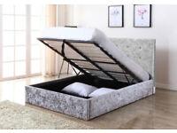 King Size, Double, Grey, crushed velvet frame, Sprung, Mattress. single, ottoman, storage bed,