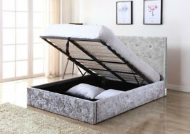 Grey, Crushed Velvet, ,Double, hydraulic, Storage bed, lift up, Ottoman, single, silver, Mattress.