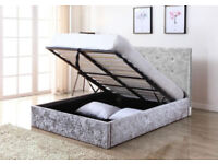 Double, single, crushed velvet, Bed, Frame, Ortho, Sprung, mattress, Bargain, silver grey,