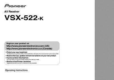 Pioneer VSX-522K  Receiver Owners Manual