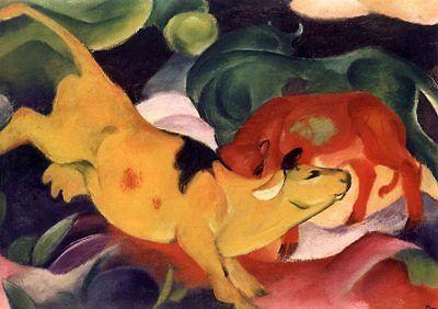 BLAUER REITER FRANZ MARC Kühe gelb-rot-grün um1912 Faksimile 31 auf Büttenpapier