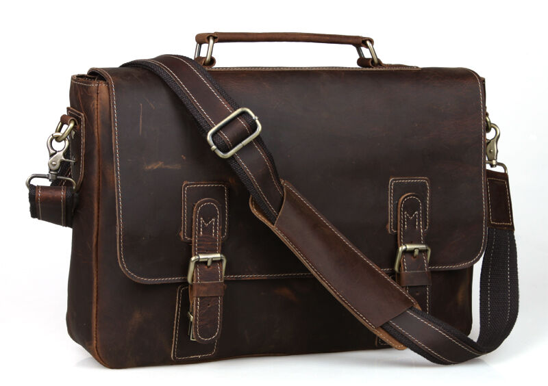 Antique CRAZY HORSE LEATHER Tote Briefcases Laptop Bags