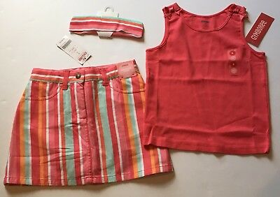 NWT Gymboree Tropical Garden Size 6 Coral Stripe Skirt Skort Tank Top & Headband