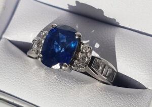 Beautiful 18k White Gold, Sapphire, and Diamond Ring
