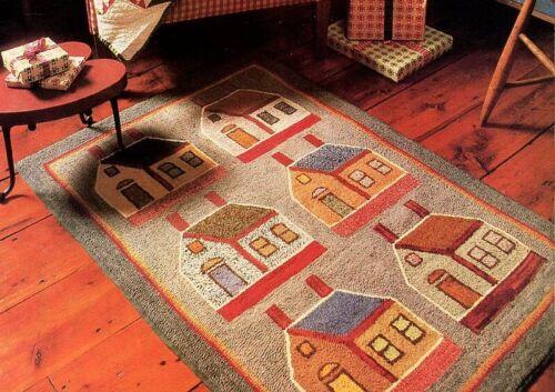 Vintage Primitive Schoolhouse House Wool & Burlap Hook Rug Original Pattern