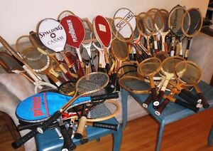 COLLECTABLE VINTAGE WOOD, METAL AND GRAPHITE TENNIS RACKETS