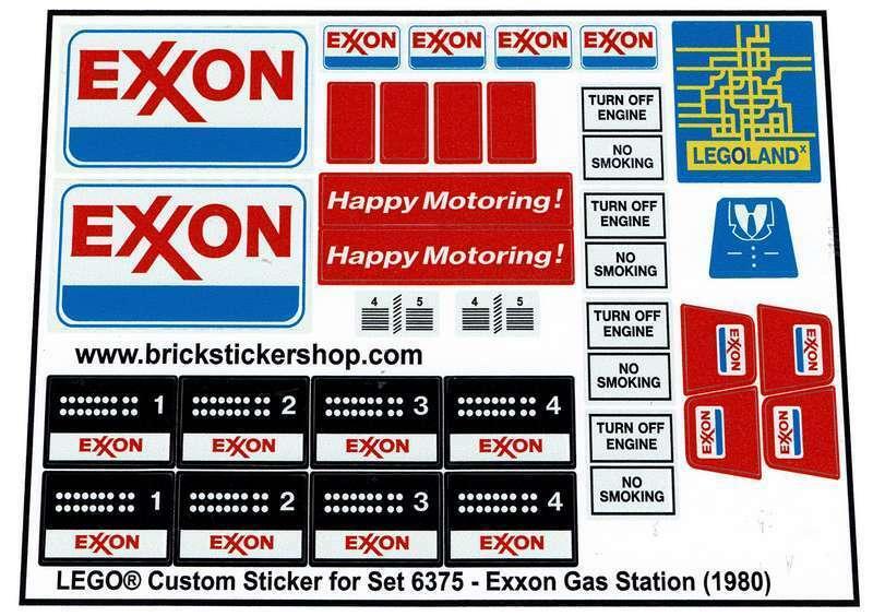 Lego® Custom Pre-Cut Sticker for Classic Town set 6375 Exxon Gas Station