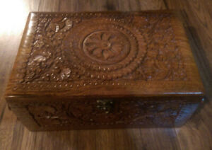 BRAND NEW Hand Carved Wooden Jewelry Box