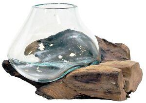 Teakholz Deko Wurzel m. Vase Windlicht 15-20cm Unikat Teak Dekoration Wurzelholz