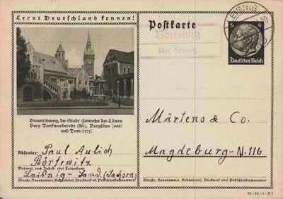 D.Reich Ganzsache P 236 BRAUNSCHWEIG gelaufen LEISNIG 16.5.35 (42839)
