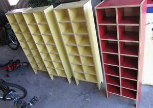 2 yellow, 1 red cube style CD-shelves $ 15 ea or all for $ 40