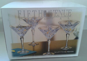 "Fifth Avenue "" Portico "" 24 % Lead Crystal Martini Glasses"