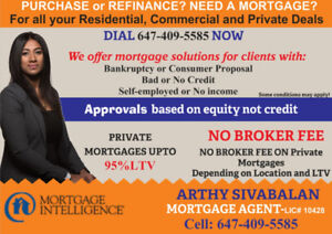Private Mortgages upto 90% LTV and Unsecured Line of Credits