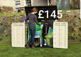 Keter plastic garden storage box small shed wheelie bin holder