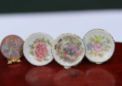 Dollhouse Miniature Set of 3 Lovely Floral Plates