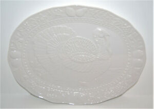 "Large Oval White Turkey Serving Platter 18"" x 13"" Like NEW!"
