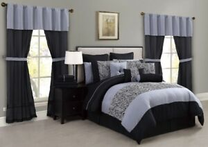 Amari 30-Pc. Super Set Queen Black-Gray/Brown, New