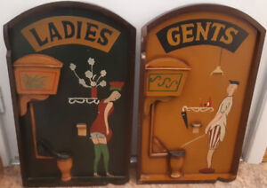"""Bathroom Signs - Wood - LADIES & GENTSSigns are 3 D size 24"""""""