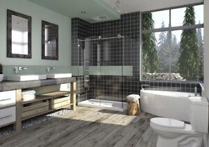 Porte de douche en coin 48 x 36 coulissante chromé/clair