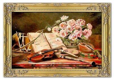 Gemälde Musikinstrumente Handarbeit Ölbild Bild Ölbilder Rahmen Bilder G01685 ()