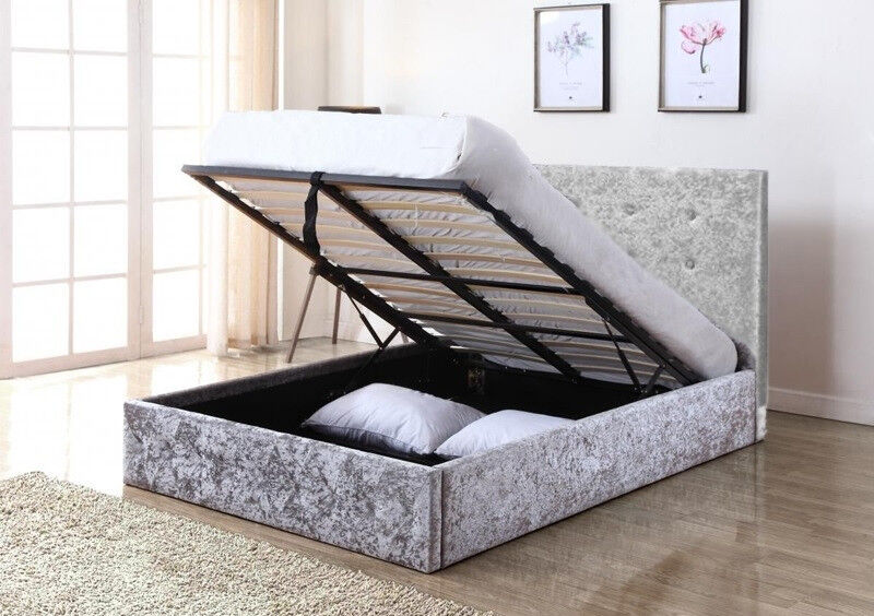 Single Bed Frame Grey Crushed Velvet Hydraulic Storage Bed Lift Up