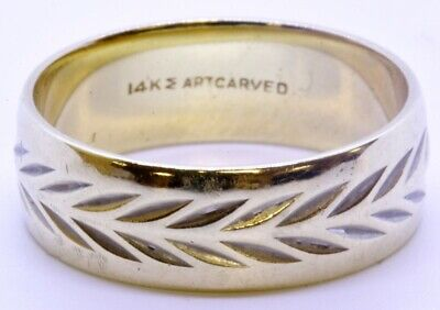 ArtCarved 14K Solid 2-Tone Yellow & White Gold Diamond Cut 6mm Wedding Ring Band