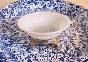 Vintage Milk Glass Footed Trinket/Candy Dish
