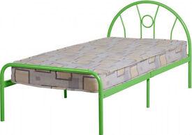 Sturdy green metal bed frame