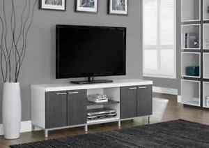 "LORD SELKIRK FURNITURE - 60""L IN GREY/ WHITE TV STAND - $299.00"
