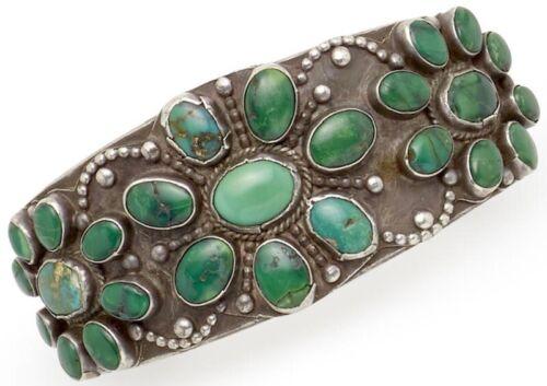1930s Hand Constructd & Stampd Navajo Zuni Natural Cerrillos Turquoise Bracelet