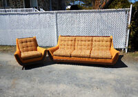 1970's vintage Adrian Pearsall style Gondola Sofa and chair
