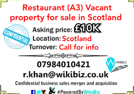 Restaurant (A3) Vacant property for sale in Scotland.