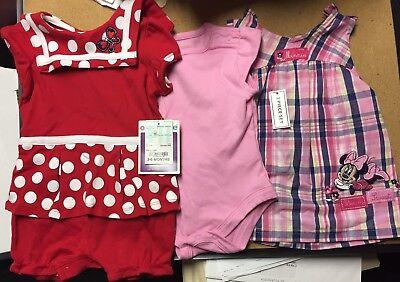 3-6 Month Girl Disney Minnie Dress/Romper & Okie-dokie Romper Bodysuit Clothes