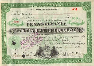 Pennsylvania Salt Manufacturing > 1899 Pennsylvania old stock certificate