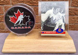 Peter Mahovlich 1972 Team Canada autographed signed card + puck