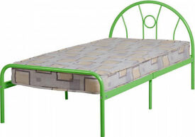 Sturdy green metal bed frame