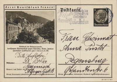 D.Reich Ganzsache P 236 WILDBAD  gelaufen GARMISCH 26.8.37 (42838)