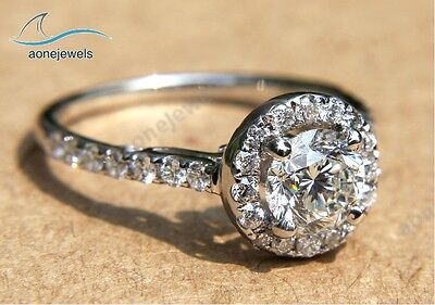 Unique Round Cut 14K White Gold Wedding Engagement Ring For