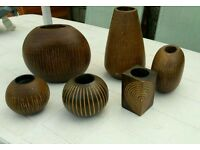 Selection Of Wooden Vases And Tealight Holders