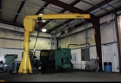 Heavy Duty 2 Ton Freestanding Jib Crane. Excellent Condition W 2 Ton Elec Hoist
