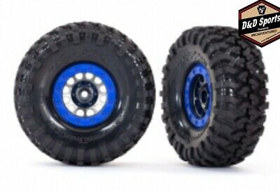 Traxxas 8182 Tires and wheels, assembled, glued Method 1.9 Blue Bead Lock Style