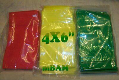 100 4060 4.0x6.0 Color Lot Mini Ziplock Baggies Green Yellow Red 4x6