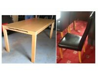 Ikea Solid Wood Table & 6 Black High Back Leather Chairs Oak Legs FREE DELIVERY 337