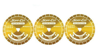 Husqvarna Excel 5000 5 Yellow Soff Cut Ultra Early Entry Diamond Blade 3pk
