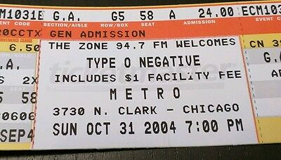 Type O Negative Concert Ticket - Halloween 2004, Cancelled due to Heart Attack! - Halloween Cancelled
